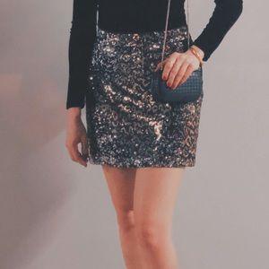 Zara Animal Print Sequin mini skirt